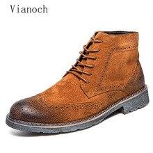 Autumn Spring Fashion Mens Ankle Boots Casual Oxfords Suede Lace Up Shoes Men Shoe Man Vintage men0056