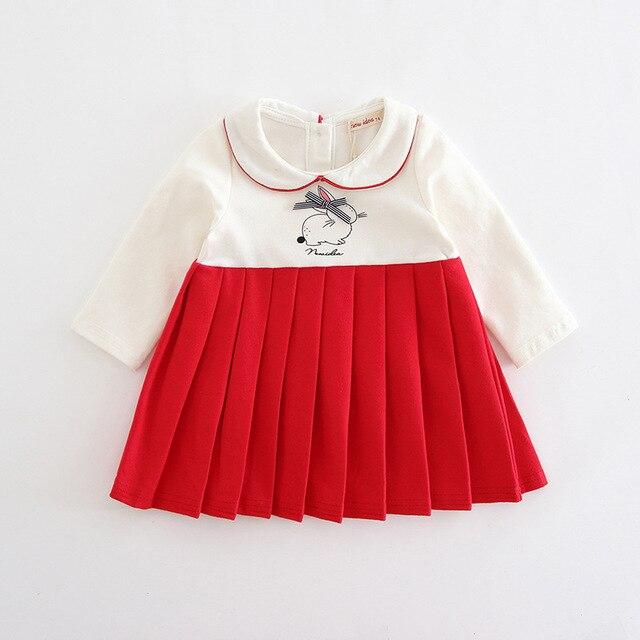 赤ちゃんの女の子は秋プレッピースタイルのウサギのパターン幼児ドレス子供プリーツクリスマスドレスのための服 0  2 t