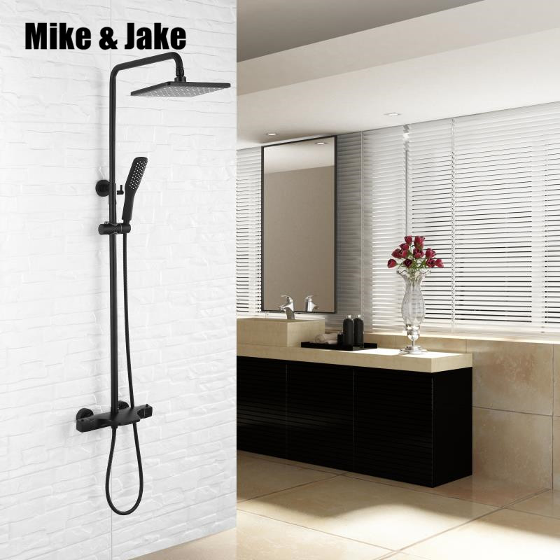 Constant Temperature black shower set black rainfall bathtub shower faucet hot and cold thermostatic black bathroom