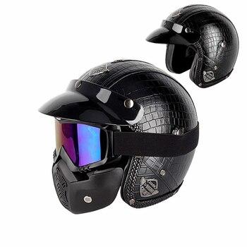 Casco de Moto rcycle de cuero vintage 3/4 con cara abierta, casco de moto Chopper, rcycle casco de moto, moto cros con visor