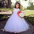 2016 Новая Девушка Принцесса Розовое Платье Белый Розовый Цветок Девушки Пачка Платья для Свадьбы Pageant Детские Платья