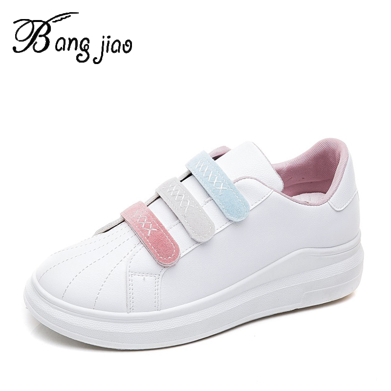 Women Breathable Sneakers Increased Platform Shoes Hook&Loop Casual Footwear Leisure Leather White Shoes tenis feminino(China)