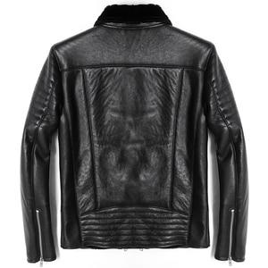 Image 2 - Free shipping.Mens plus size genuine leather jacket.motor biker sheep fur coat,winter warm 100% sheepskin clothes.soft shearling