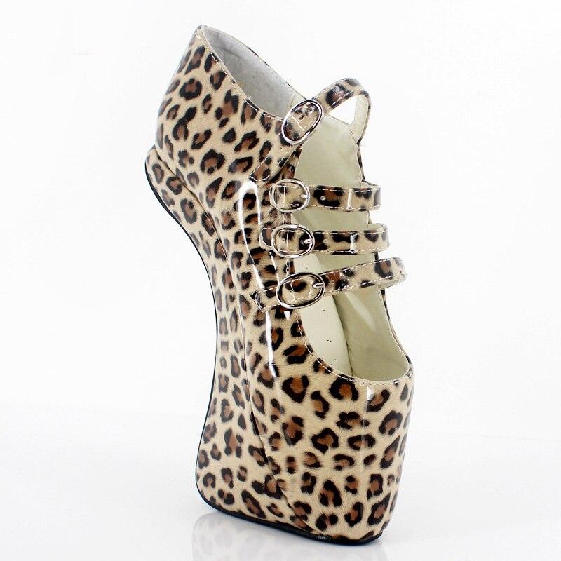 Wild Leopard PVC Women Pumps 18cm High Heels Large Size Unisex Female Pump  Shoes Women Sapato 4a016e0d714d