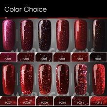 PVADCOL 7ml Red Diamond Glitter UV Nail Polish Long-lasting Soak Off Nail Gel Polish Sequins Gel Manicure