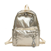 fcfae1559bcd The Glossy Backpack Gold Shiny Waterproof Nylon School Bag For Teenage  Girls Silver Fashion Book Bag