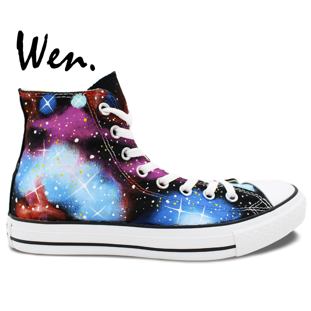 ФОТО Wen Original Shoes Hand Painted Design Custom Starlight Galaxy Light Blue And Red Clouds Men Women's High Top Canvas Sneakers