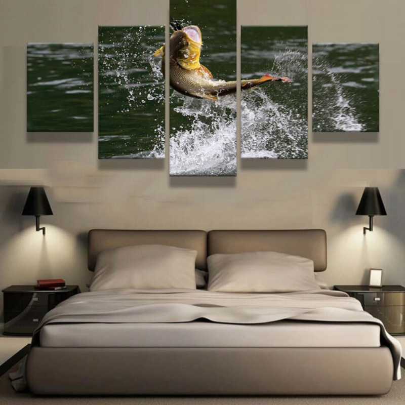 Modern Canvas Painting Frame Art Poster Wall 5 Panel Animal Fish Modular Picture Home Decor Print On Canvas For Living Room no frame canvas