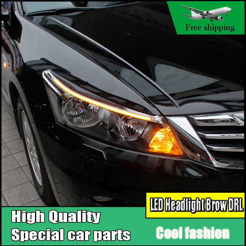 Car Styling For Honda Accord 8th 2008 2013 LED Headlight Brow Eyebrow  Daytime Running Light DRL With Yellow Flowing Turn Signal In Car Light  Assembly From ...