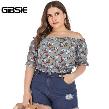 GIBSIE Plus Size Floral Print Boho Off Shoulder Ruched Crop Top Blouse 2019 Summer Holiday Casual Womens Tops and Blouses
