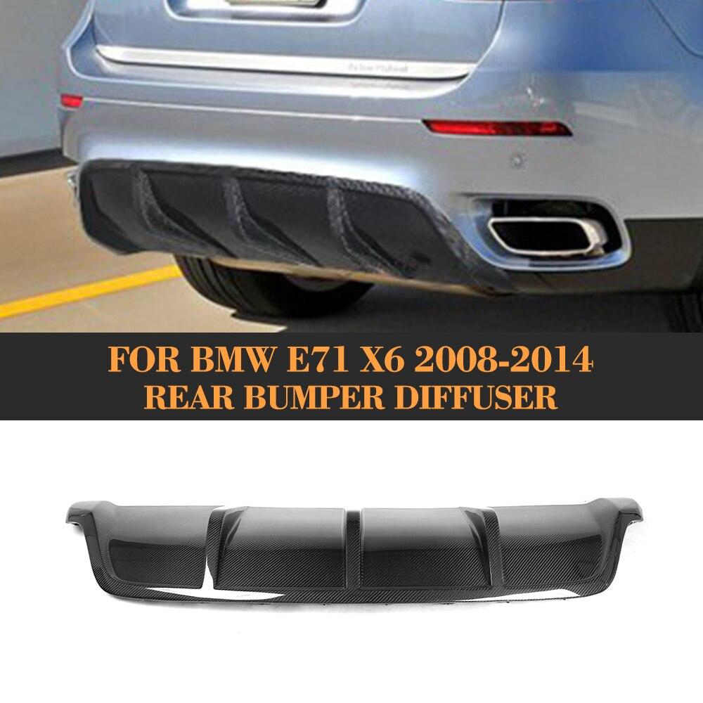carbon fiber Car Rear Bumper Extension Lip Spoiler Diffuser for BMW X6 E71 E72 2008 2014 xDrive 35i 50i Black FRP