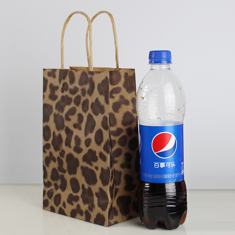 Zilue 50pcs Lot Size 21x13x8cm Gift Paper Bags Recyclable Leopard Print Color Kraft Promotion Gift Bags Wholesale In Gift Bags Wrapping Supplies