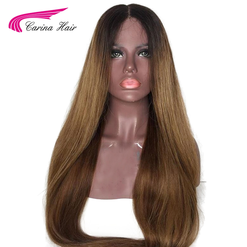 Carina Ombre Brown Color 13x6 Long deep part Lace Front Human Hair Wigs Pre Plucked Hairline
