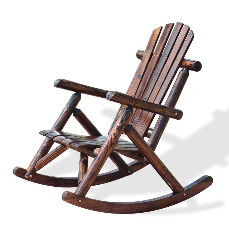 outdoor patio adirondack wood bench chair rocking chair solid wood log deck garden furniture single - Wood Rocking Chair