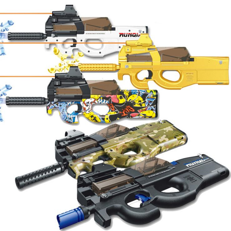 Gold Electronic P90 Toy Rifle Gun Paintball Assault Snipe Weapon Soft Water Bullet Pistol with bullets Toys For Children gifts