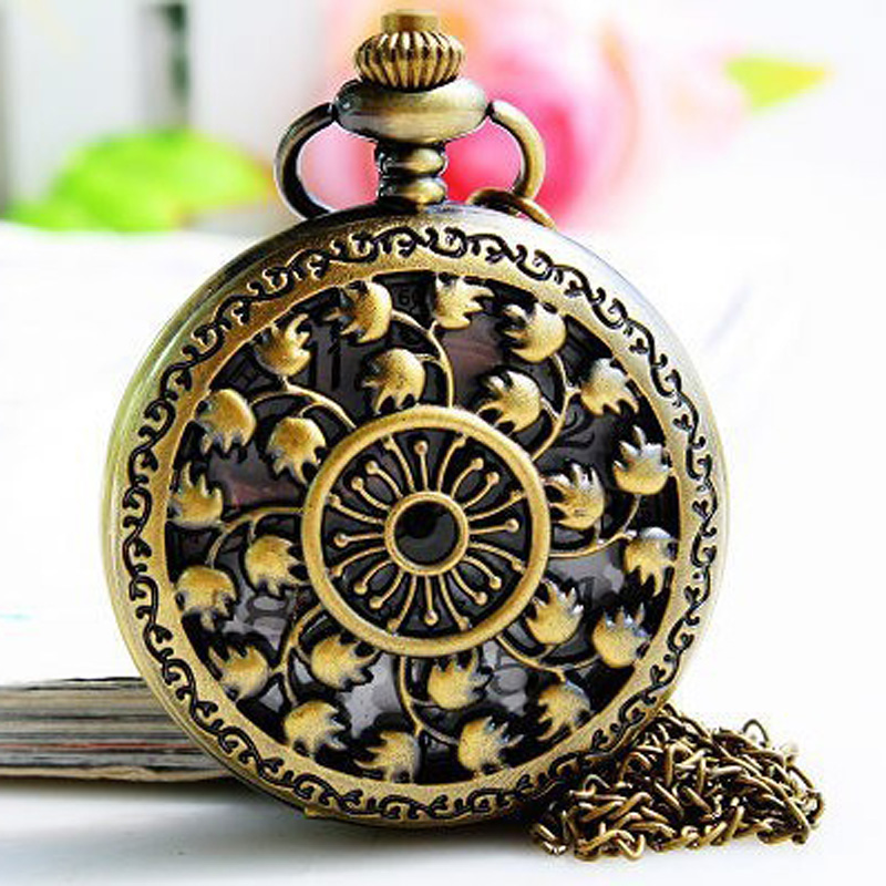 Permalink to Unique necklace & antique fashion alloy Carved hollow pocket watch & free shipping