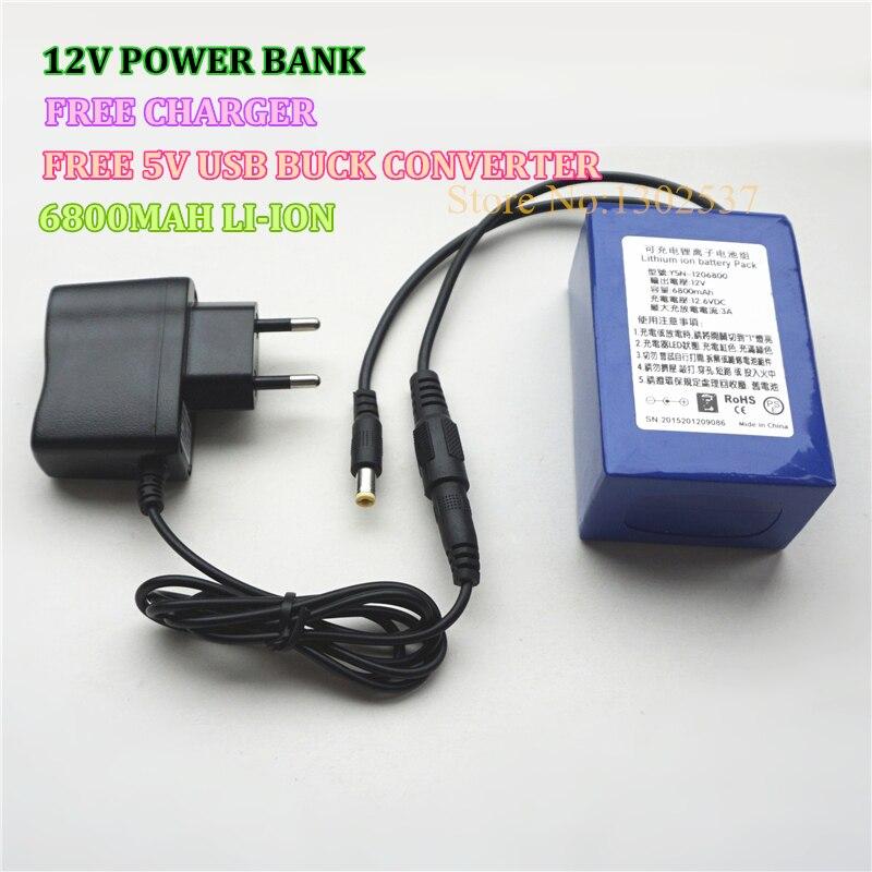 12 V 6800 MAH 3AH lithium ion li-ion Rechargeable Batteries rechargeables pour la Banque D'alimentation avec Chargeur GRATUIT & 5 V USB chargeur