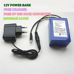 12 V 6800 MAH 3AH litowo-jonowe akumulatory do ładowania do banku mocy z bezpłatną ładowarką i 5 V ładowarka USB