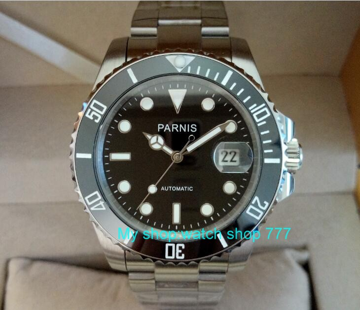 40mm PARNIS Black dial 21 jewels Automatic Self-Wind movement Auto Date Sapphire crystal luminous men's watches ca