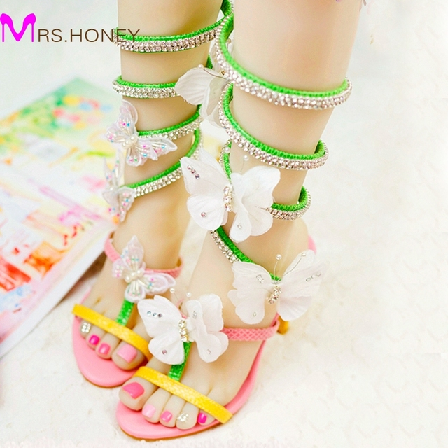 d452b694debcaa Women Gladiator Butterfly Sandals Colorful Wedding Party High Heel Sandal  Special Design Bridal Shoes Handmade Prom