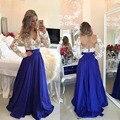 Royal Blue Tafetán Falda Maxi Larga para Las Mujeres Formal Del Partido una Línea de Piso-Longitud de la Cremallera de La Cintura Falda Larga Elegante Por Encargo