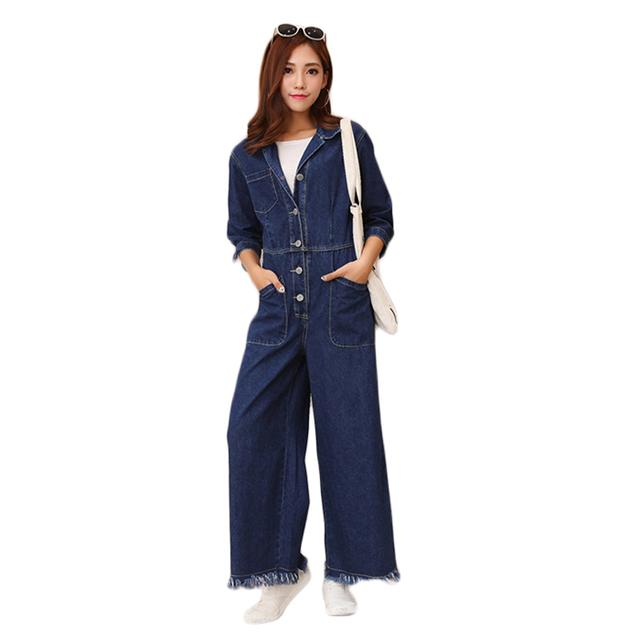 Llegó el nuevo otoño Primavera Buzos mujer Loose Moda Casual denim pantalones Encuadre de cuerpo entero pantalones de Pierna Ancha de Cintura Alta Todos mach