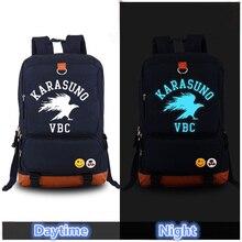 Harajuku Hot Anime Haikyuu Karasuno VBC Luminous Printing Women Backpack Mochila Feminina school Canvas Bags Laptop