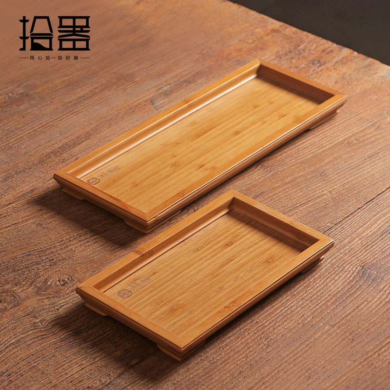 Kung Fu de bambú hecho a mano Bandeja de té Mesa de té Juego de té Tetera Organizador Placa de té Herramientas de té Tablero de cocina Estante de plato Regalos decorativos