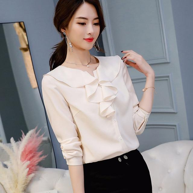 Women Ruffled Chiffon Blouses & Tops Female Slim Fit Long Sleeve Shirt Casual Loose Tops 3