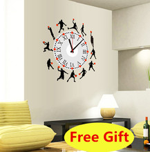 3D Clock needle Wall Sticker cartoon Basketball sport star Home Decoration Wall Decal WallPaper for Livingroom bedroom kids room