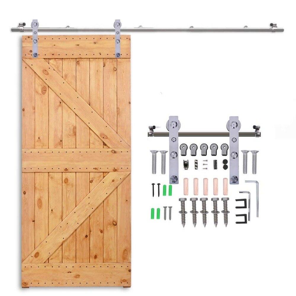 Купить с кэшбэком LWZH 10-16 FT J-Shaped Silver Modern Stainless Steel Puerta Corredera Wooden and Glass Sliding Door Hardware Kit for Single Door