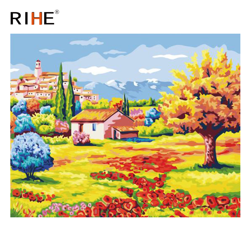 RIHE Flower Land Diy Painting By Numbers Abstract Rural Oil On Canvas Cuadros Decoracion Acrylic Wall Picture For Room