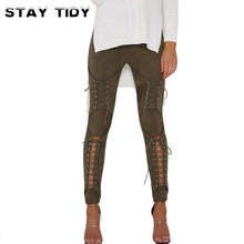 STAY TIDY Sexy Lace Up Suede Leather Pants Women 2017 Autumn Hollow Out Winter Femal High Waist Bandage Casual Women Pants