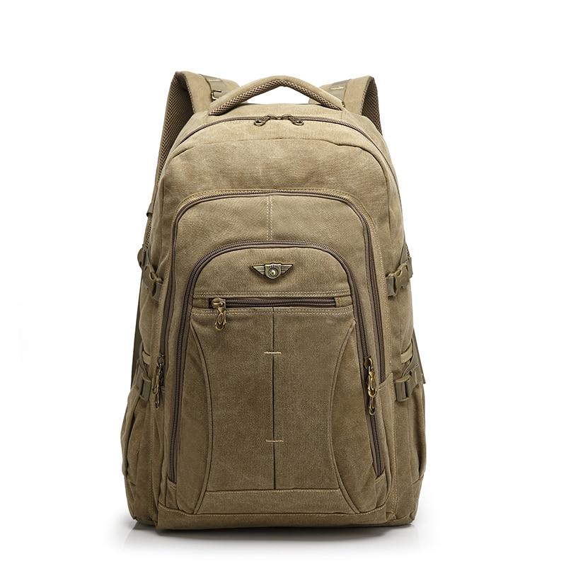 YUPINXUAN 40 Liter Canvas Backpacks Men Large Laptop Daypack Huge Travel Bag Large Capacity Rucksack Teenagers