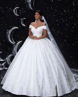 2019 Классический белый бальное платье свадебное с открытыми плечами кружево атласный с коротким рукавом плюс размеры невесты платья для жен