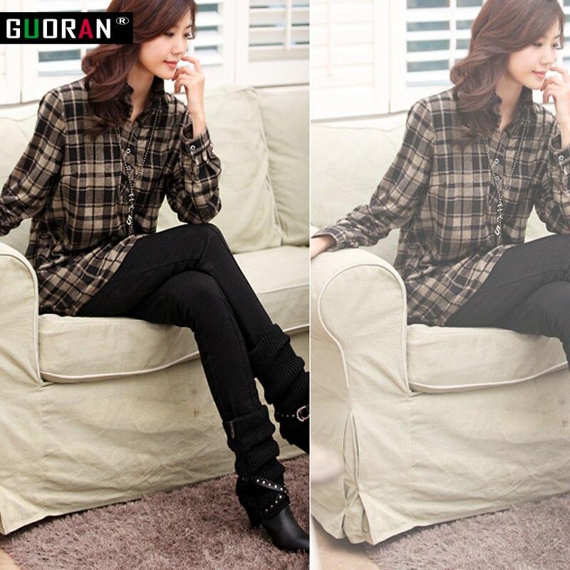 Musim sejuk wanita hangat meregangkan seluar pinggang tinggi kasual - Pakaian wanita - Foto 3