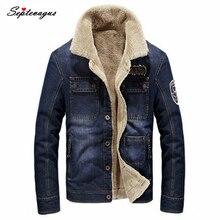 Brand Winter Jackets for Men Mens Fleece Turn-down Denim Jacket Multi-pocket Solid Color Casual Coat jacket