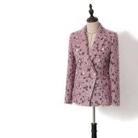 OL леопард розовый бахрома твидовые блейзеры 2019 Демисезонный Для женщин мода двубортный Тонкий Пальто Блейзер Feminino Y027