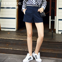 Veri Gude Summer Shorts Navy Blue Contrast Color Work Shorts Slim Fit