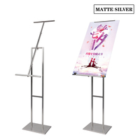 Linliangmuyu metal adjustable frame photo floor standing display rack holder for advertising poster high quality stainless steel
