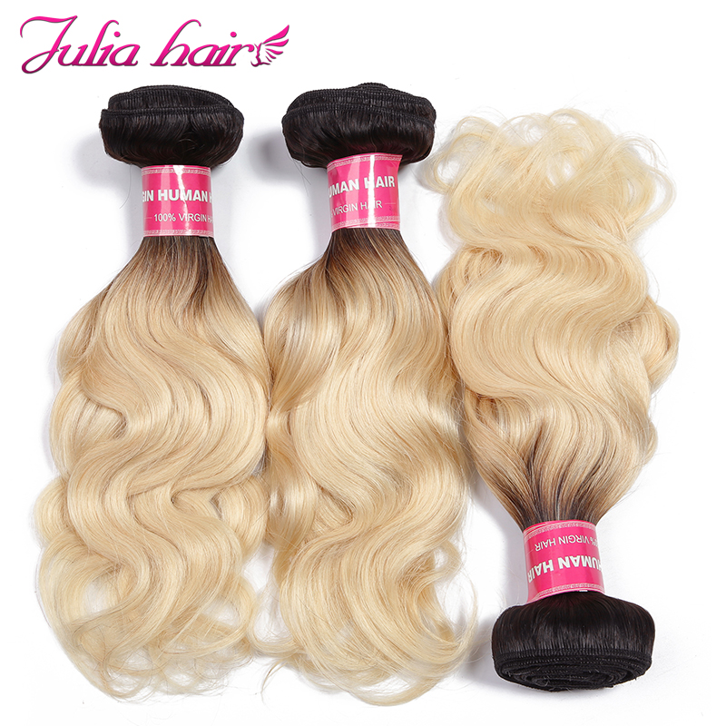 Ali Julia Brazilian Ombre Hair T1B/613 Body Wave 100% Human Hair Weave Bundles3 Bundles Deal Remy Hair Extension Double Weft-in 3/4 Bundles from Hair Extensions & Wigs    1