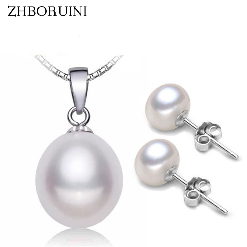 ZHBORUINI Fashion Pearl Jewelry Set Natural Freshwater Pearl Necklace Earrings 925 Sterling Silver Jewelry Set For Women Gift