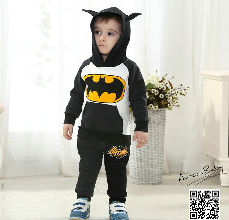 Kids Batman Clothing Set Include Coat And Pants Warm Clothes Baby Boys Girls Batman Clothes 2015Autumn Winter New Arrival 3color