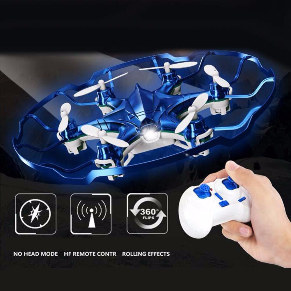 Attop Mini axis Aircraft Remote Control Drone Unmanned Aerial Vehicle BLUE