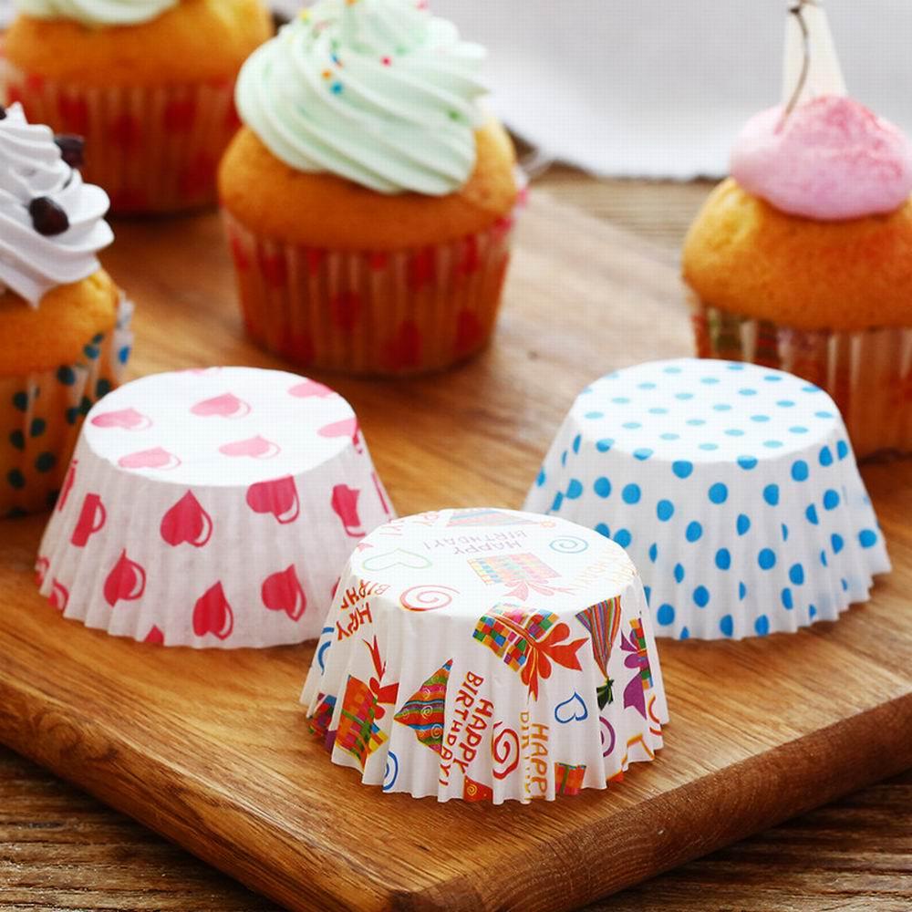 100Pcs <font><b>Colorful</b></font> <font><b>Rainbow</b></font> <font><b>Paper</b></font> <font><b>Cake</b></font> <font><b>Cupcake</b></font> <font><b>Liner</b></font> <font><b>Baking</b></font> Muffin Box Cup Case Party Tray <font><b>Cake</b></font> Mold Decorating Tools