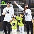 Семья установлены Осень 2017 Новый Корейский Кофты Family Pack мать и дочь одежда с длинным рукавом Футболки оптом