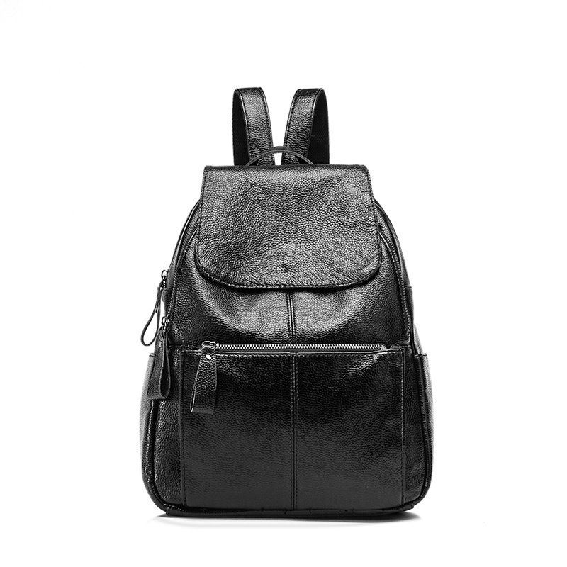 Female Backpack Genuine Leather Women Shoulder Bag Natural Cowhide Travel Bag For Women Zipper School Bag College Students C454 women s oil wax genuine cowhide leather backpack lady girl school bag crossbody shoulder travel bag for woman mr1037