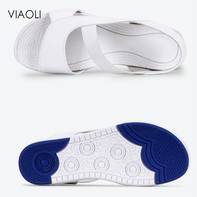 Viaoli New Summer White Nurse Shoes Flat Soft Bottom Female Non-slip Breathable Shoes Hospital Lab Nurse Doctor Medical Workwear