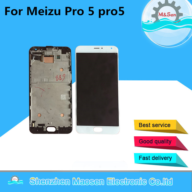 M&Sen For 5.7 Meizu Pro 5 pro5 LCD screen Display+Touch panel Digitizer with frame Black/White free shipping