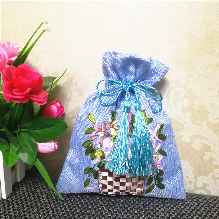 Hand Embroidery Yellow Butterfly On Gift Packaging Bag \u2013 Drawstring Pouch \u2013  Cross Stitch Holiday Wrap \u2013 Blue Canvas Bag \u2013 Cute Pouch Gift